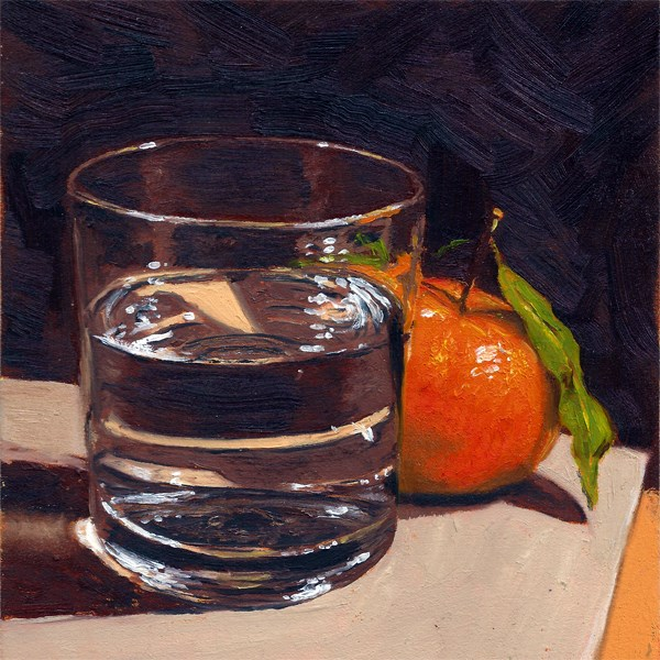 """""""Clementine with glass"""" original fine art by Peter J Sandford"""