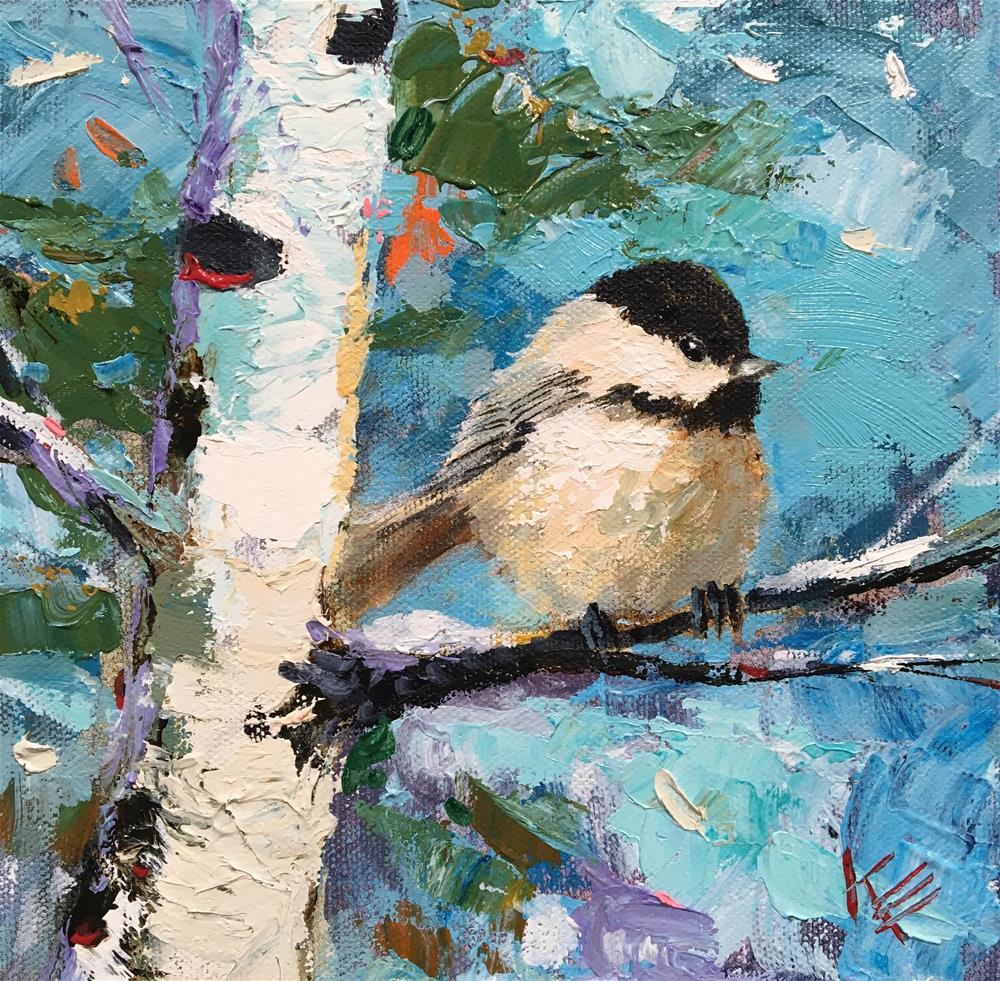 """Winter Chickadee"" original fine art by Krista Eaton"