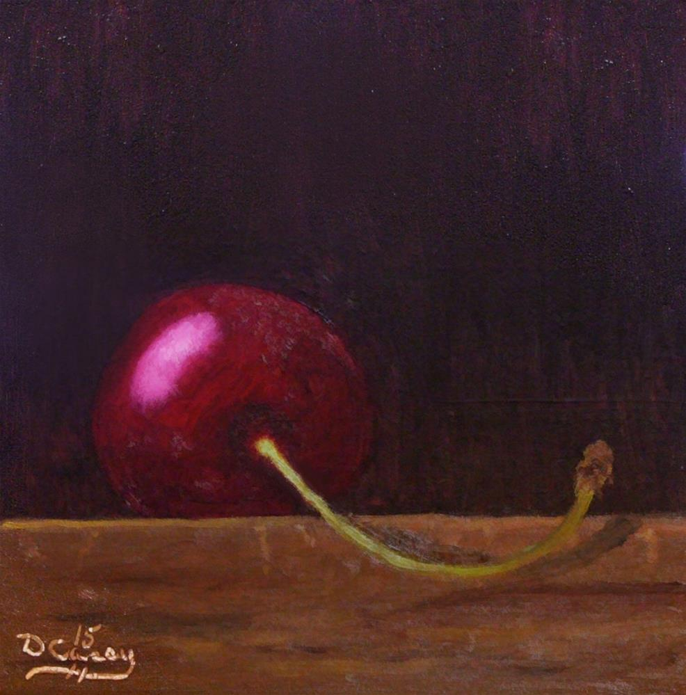 """""""30-in-30 Challenge – Day 14 – Cherry on a Wood Block"""" original fine art by Dave Casey"""