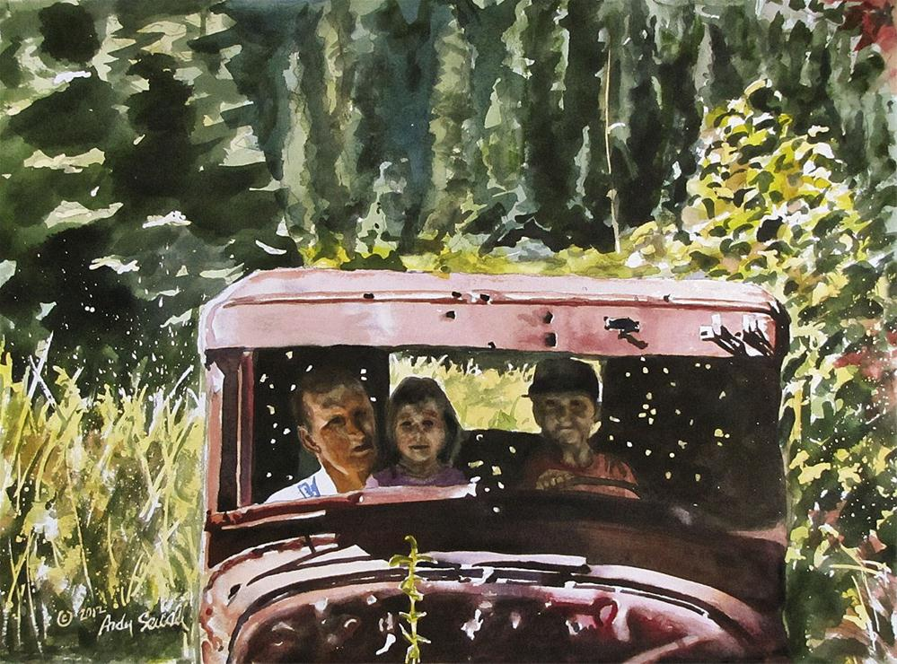 """Three in the old ford"" original fine art by Andy Sewell"