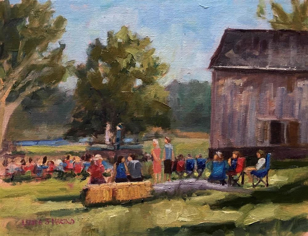 """Save the Barn Fundraiser Event, Madison Ct"" original fine art by Linda Marino"