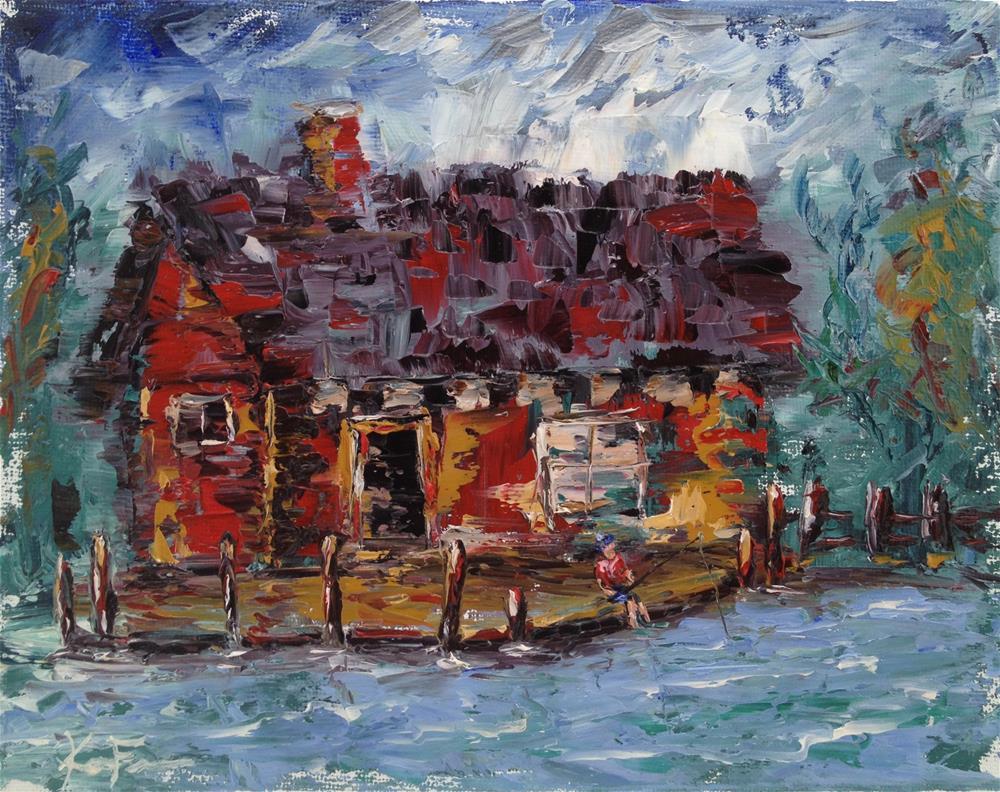 """Dock Fishin"" original fine art by Ken Fraser"