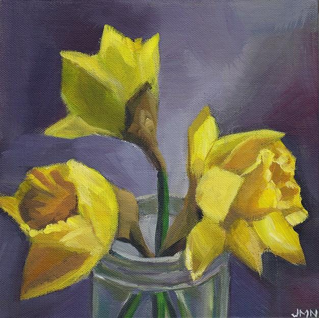 """Three Daffodils"" original fine art by J M Needham"