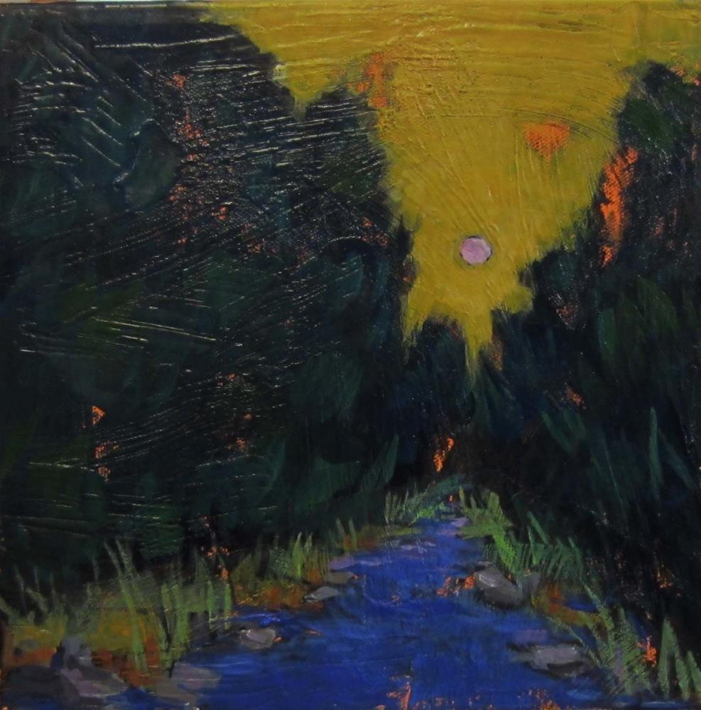 """Pink Moon"" original fine art by Kristina Davidson"