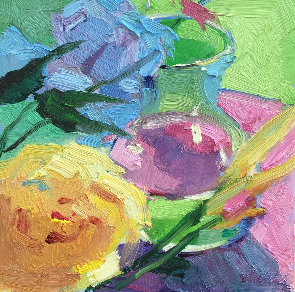 """""""Small vase with yellow flower"""" original fine art by Howard Rose"""