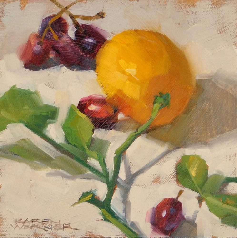 """""""Lemon & Red Grapes"""" original fine art by Karen Werner"""