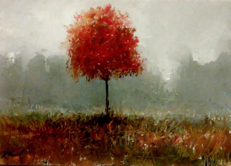 """A Single Red Tree"" original fine art by Bob Kimball"