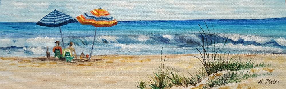 """""""Family fun at the beach"""" original fine art by Al Matos"""