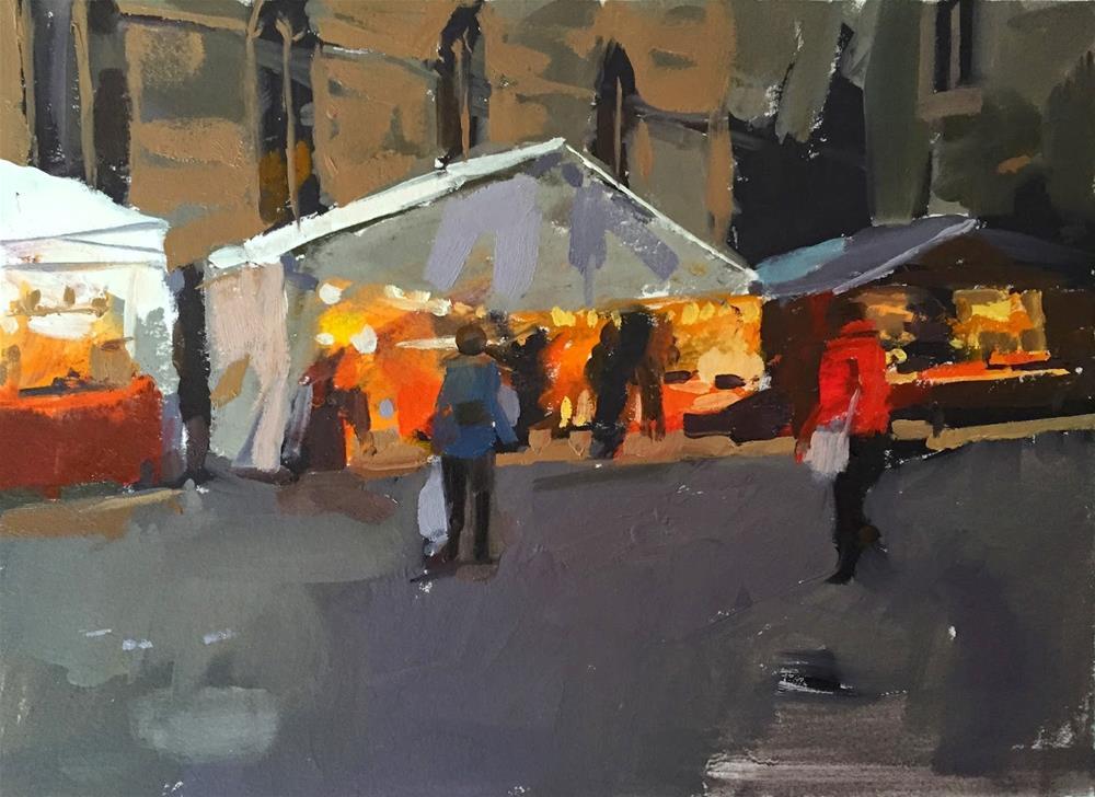 """Christmas market at dusk"" original fine art by Haidee-Jo Summers ROI"