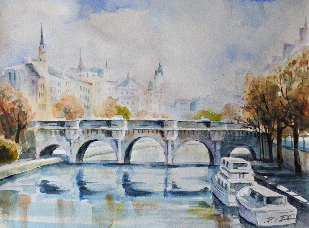 """""""Autumn in Seine River"""" original fine art by Peter Lee"""