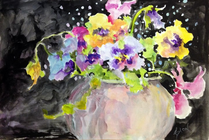 """Pansy Party"" original fine art by Sue Dion"