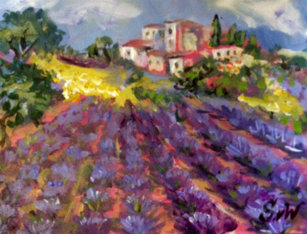 """""""Provence village with lavender field"""" original fine art by Sonia von Walter"""