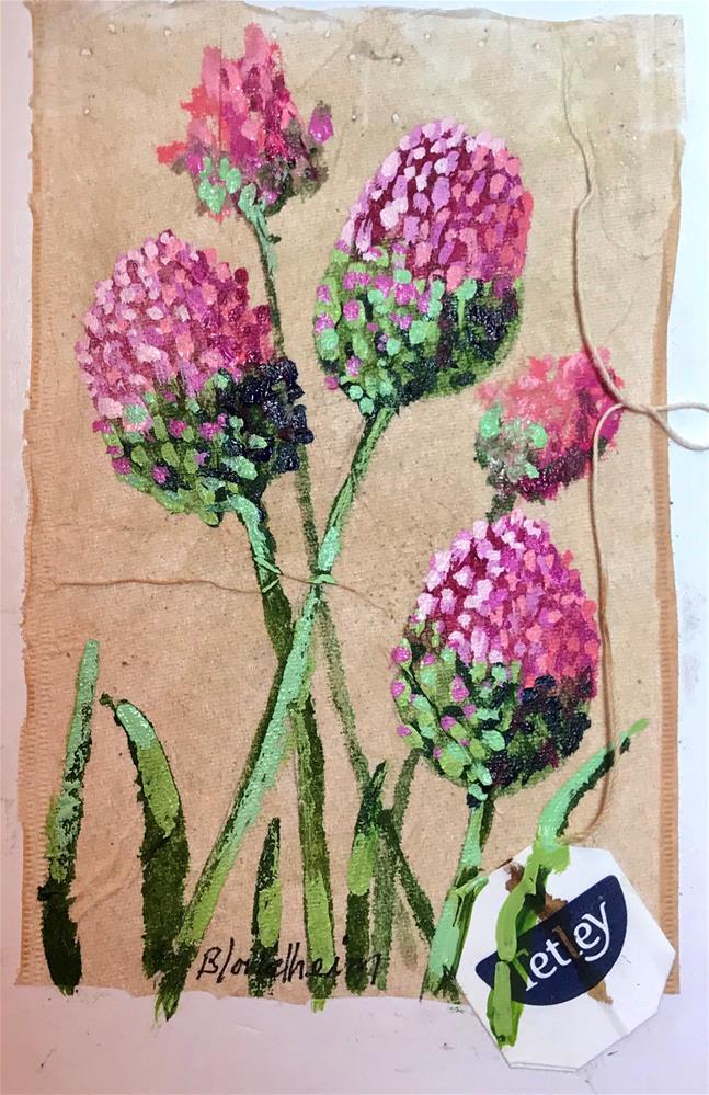 """Tea Bag Painting Allium Beginning Bloom"" original fine art by Linda Blondheim"