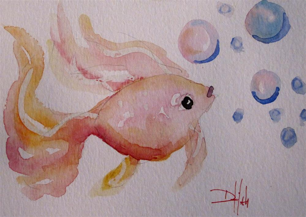 """Pink Gold Fish"" original fine art by Delilah Smith"