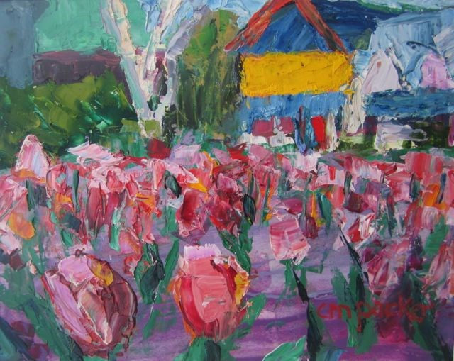 """Tulips in Mindowaskin Park"" original fine art by Christine Parker"