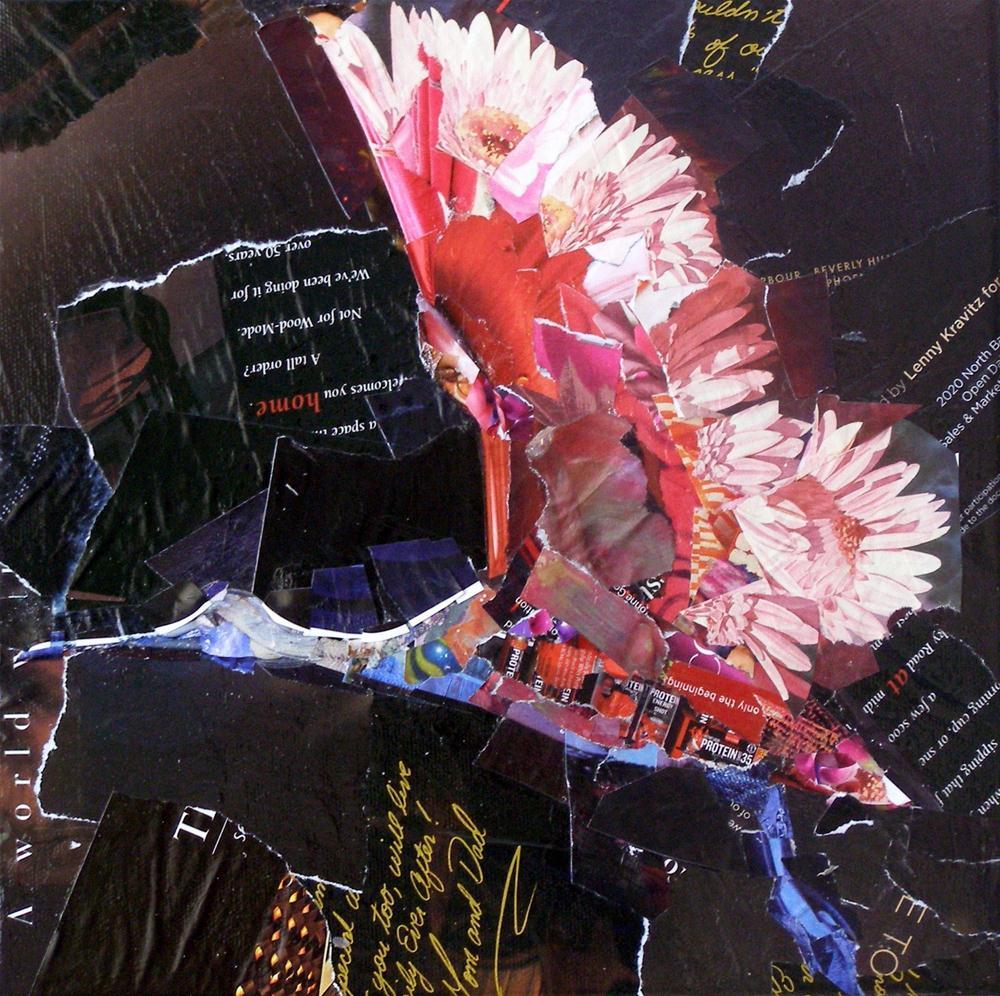 """""""Spoonbill in Flight, Collage 10 x 10"""" original fine art by Carmen Beecher"""