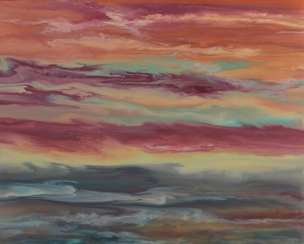 """""""Abstract Landscape,Sunset Art Painting, 24x30 Reflecting Softly by Colorado Contemporary Artist Ki"""" original fine art by Kimberly Conrad"""
