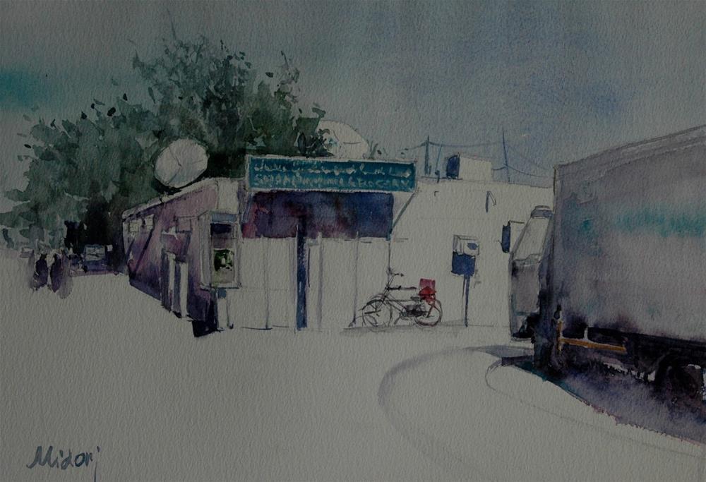 """""""A grocery store in Al Ain, UAE"""" original fine art by Midori Yoshino"""
