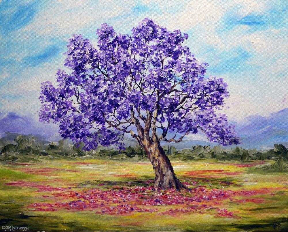 """""""My Purple Tree"""" original fine art by Gloria Ester"""