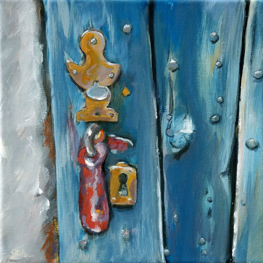 """1081 Door Lock (series 2)"" original fine art by Dietmar Stiller"