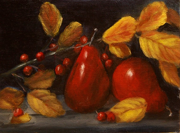"""""""Red Pears"""" original fine art by Mary Datum"""