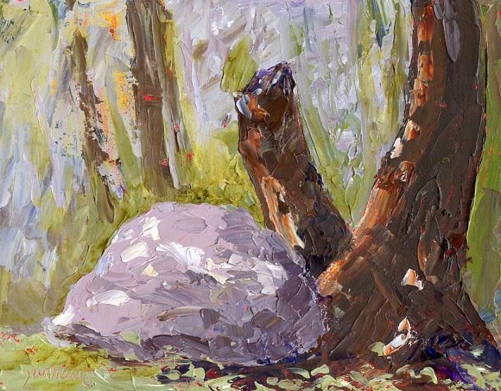 """ Rock  a palette knife study"" original fine art by Sue Furrow"