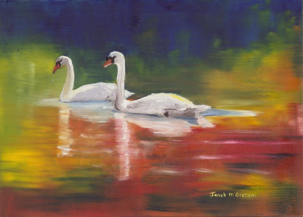 """Swans"" original fine art by Janet Graham"