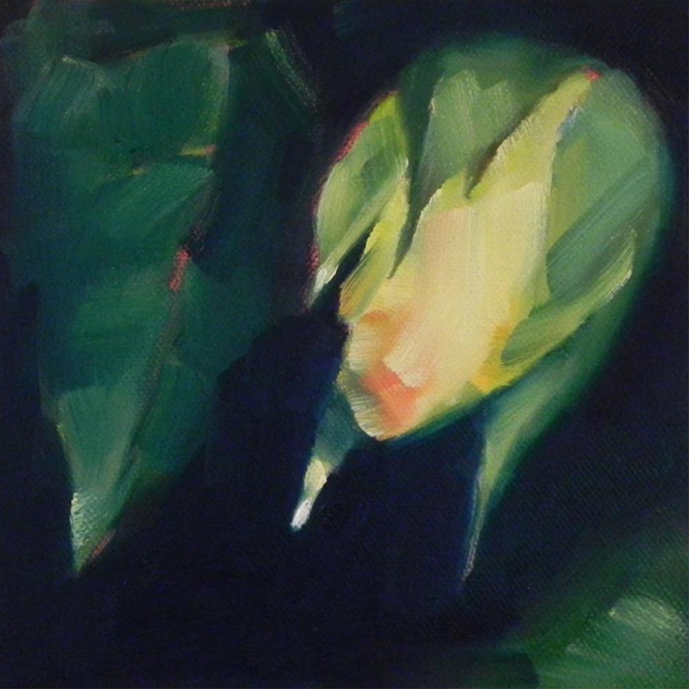 """Rosebud in Shadow"" original fine art by Cheryl Wilson"