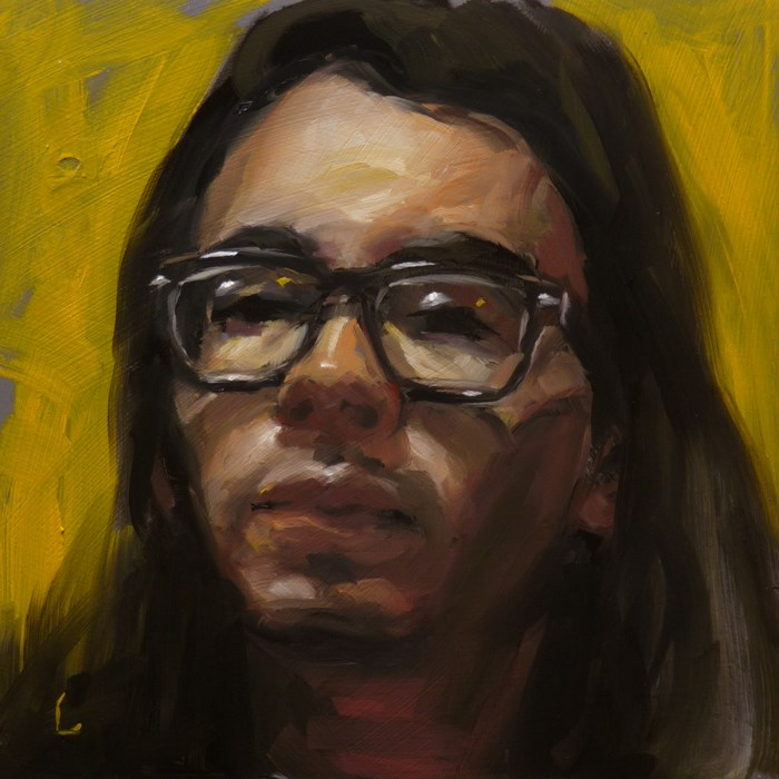 """Self on Yellow"" original fine art by John Larriva"