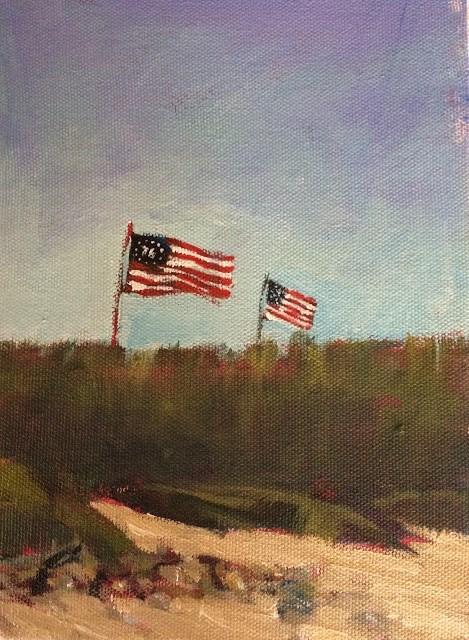 """It's A Grand Old Flag, 8x6 inch Acrylic Painting by Kelley MacDonald"" original fine art by Kelley MacDonald"