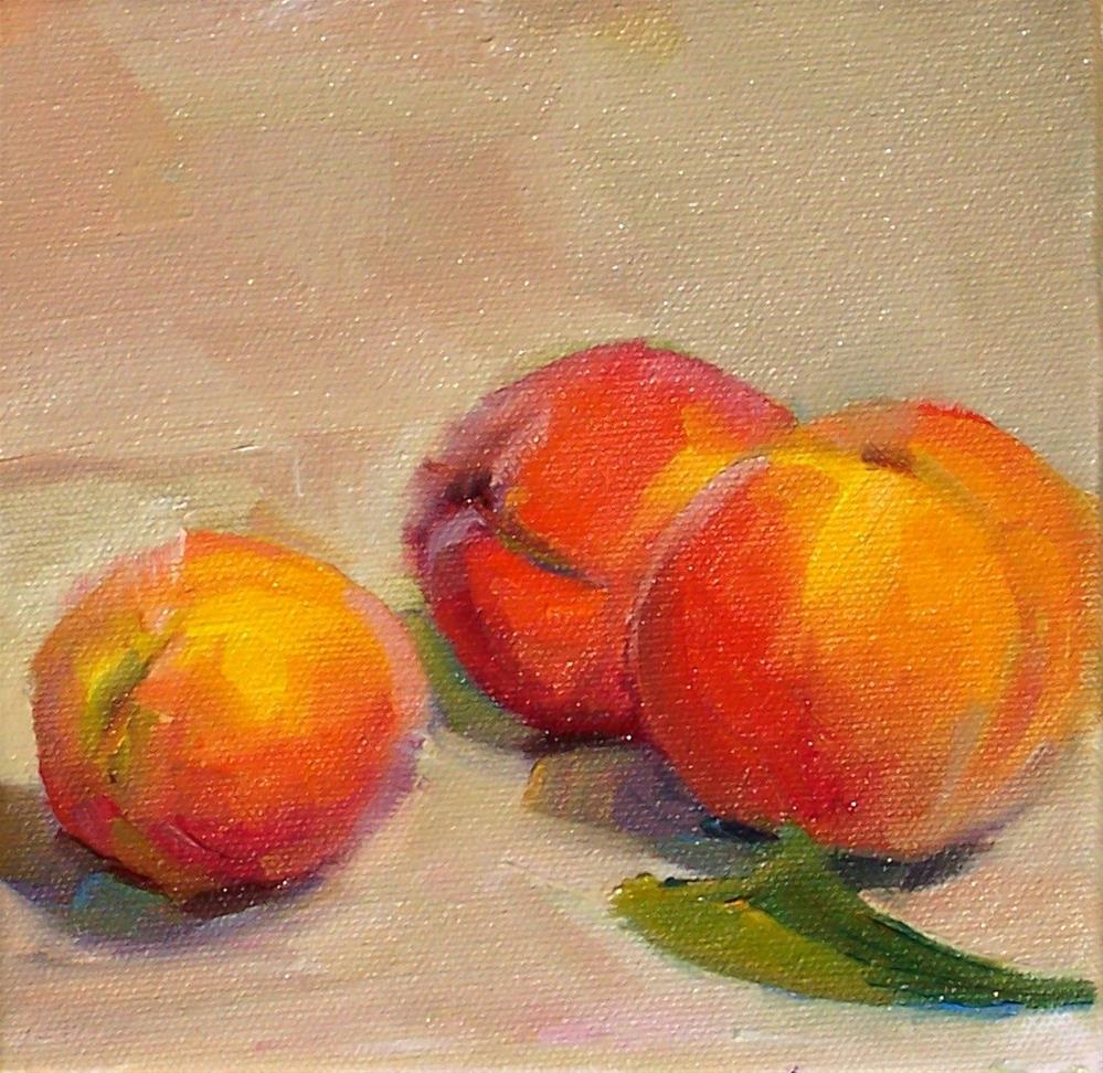 """Just Picked Peaches,still life,oil on canvas,6x6,priced$200"" original fine art by Joy Olney"