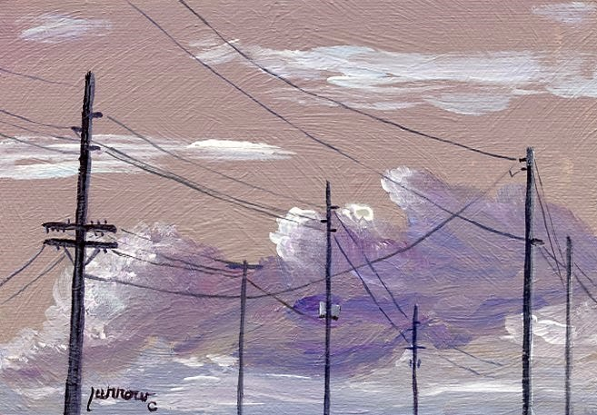 """""""ORIGINAL PAINTING OF SKY WITH UTILITY POLES AND ELECTRIC LINES"""" original fine art by Sue Furrow"""