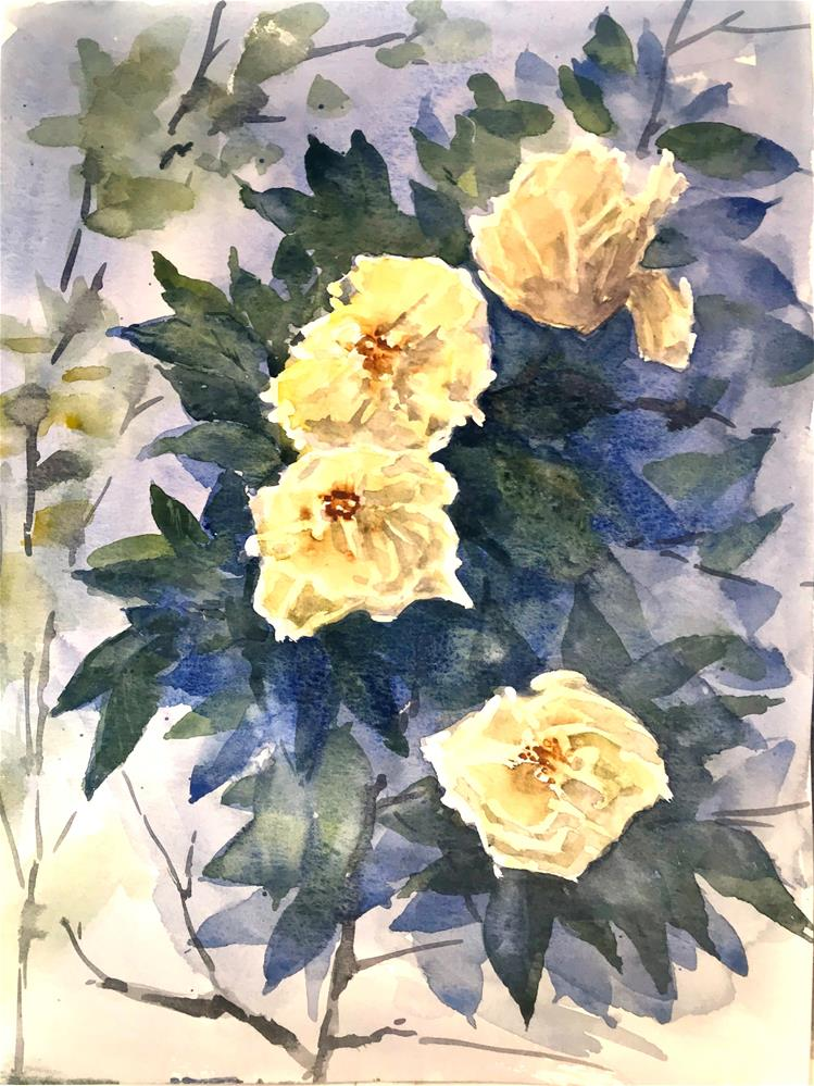 """four yellow roses"" original fine art by Betty Argiros"