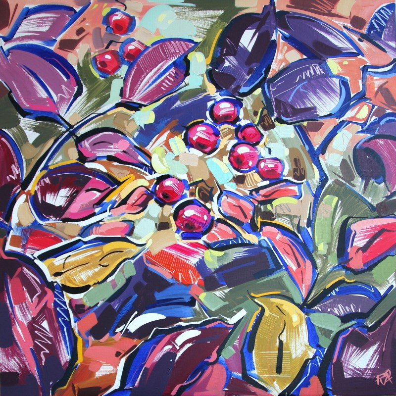 """""""Autumn Berry Abstraction 2"""" original fine art by Roger Akesson"""