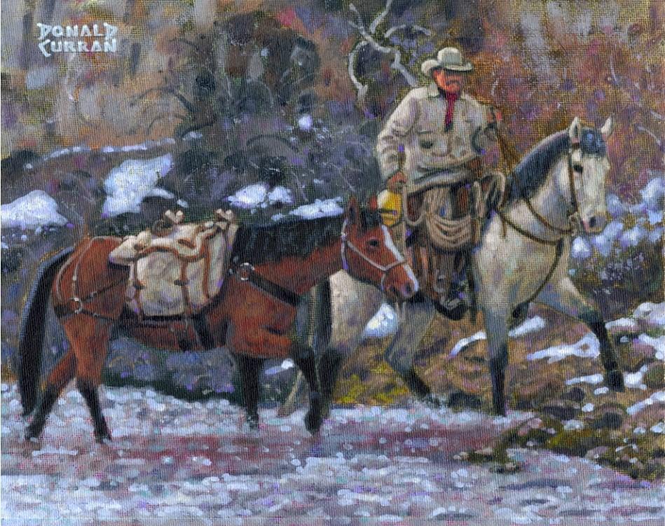 """Crossing the Creek"" original fine art by Donald Curran"