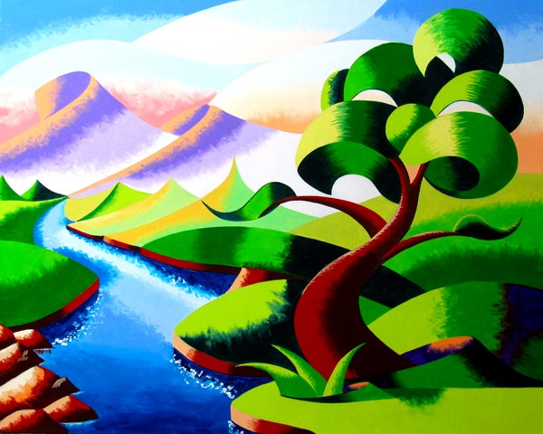 """Mark Webster - Abstract Geometric Futurist Mountain River Landscape Oil Painting"" original fine art by Mark Webster"