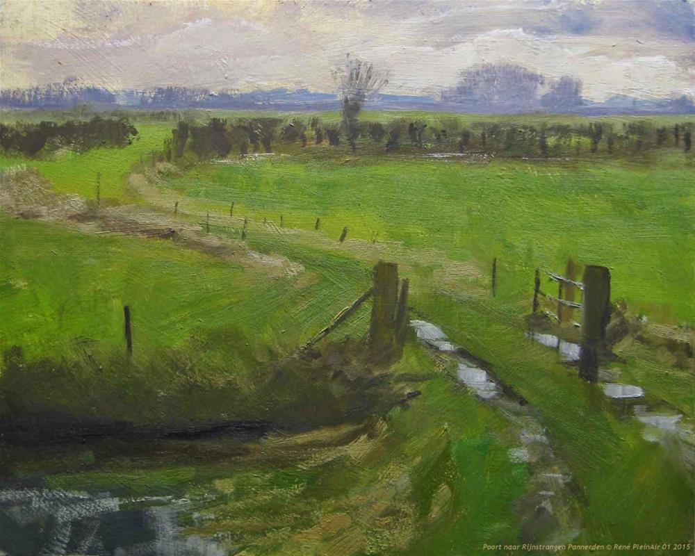"""Gate to Rhine side river Pannerden The Netherlands"" original fine art by René PleinAir"