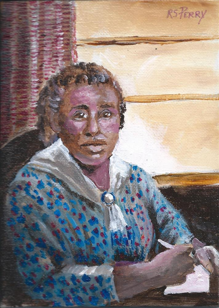 """""""Woman Writing a Letter """" original fine art by R. S. Perry"""