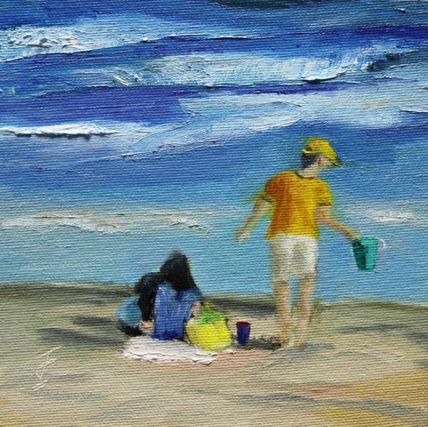 """Day at the Beach"" original fine art by Jane Frederick"
