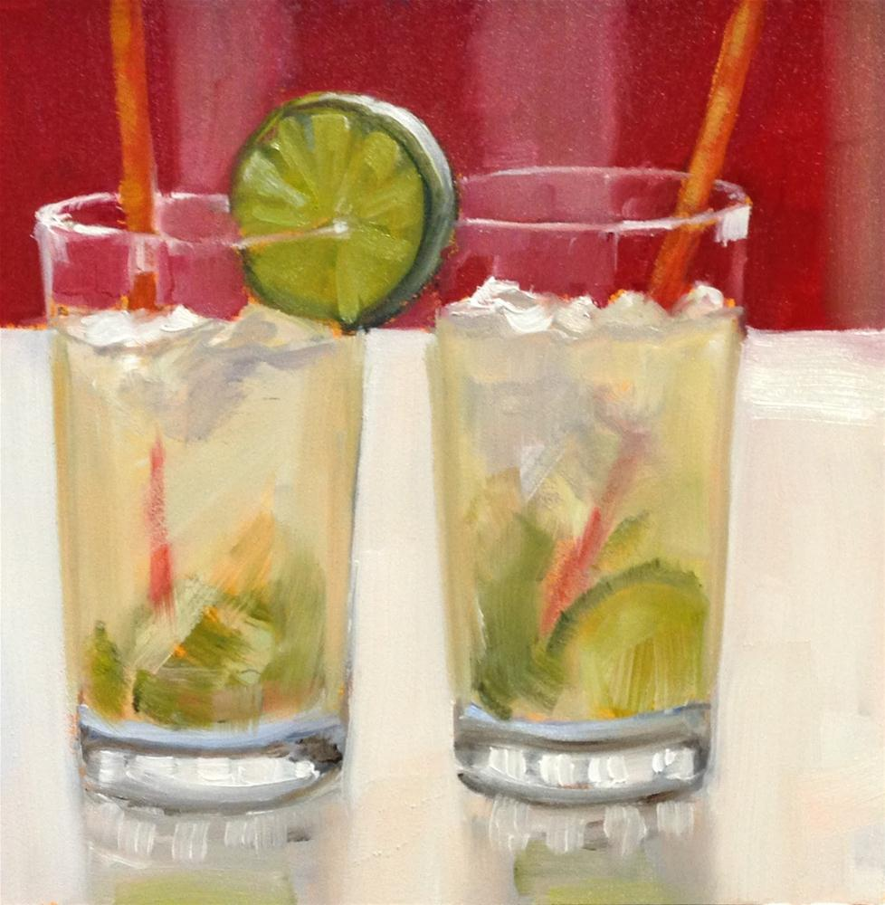 """Mojitos For Two, 6x6 Inch Oil Painting by Kelley MacDonald"" original fine art by Kelley MacDonald"