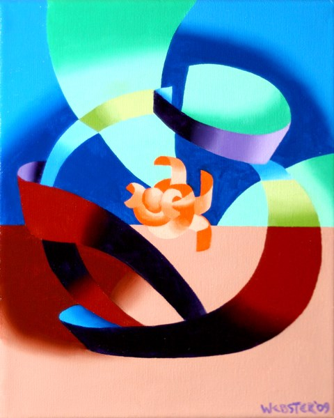 """""""Mark Webster - Futurist Abstract Goldfish Bowl Oil Painting"""" original fine art by Mark Webster"""