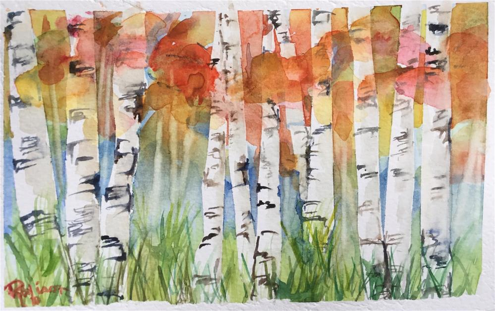 """""""Aspens Turning in fall"""" original fine art by Renee Robison"""