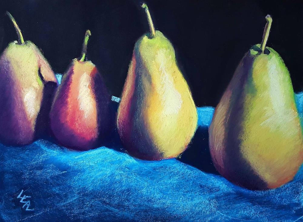 """Standing Pears"" original fine art by Anna Lisa Leal"