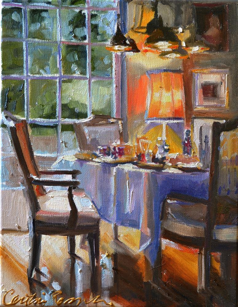 """BREAKFAST TABLE"" original fine art by Cecilia Rosslee"