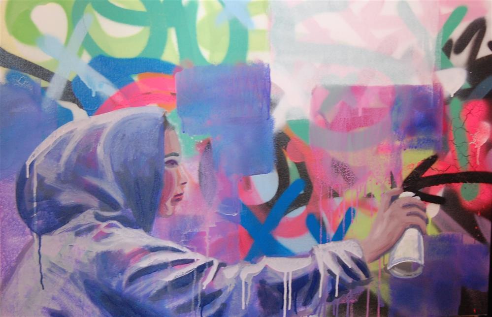 """The graffiti writer (2)"" original fine art by michael vigneux"