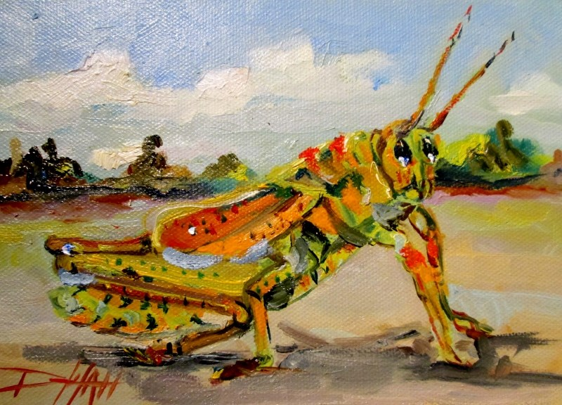 """Grasshopper"" original fine art by Delilah Smith"