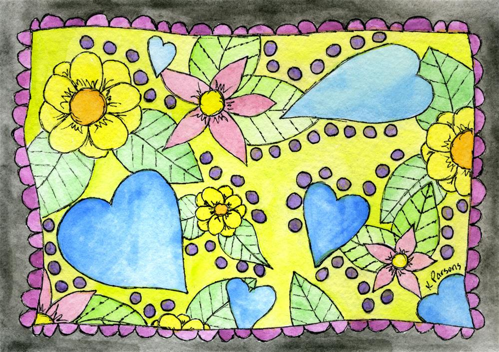 """Hearts -n-Flowers"" original fine art by Kali Parsons"