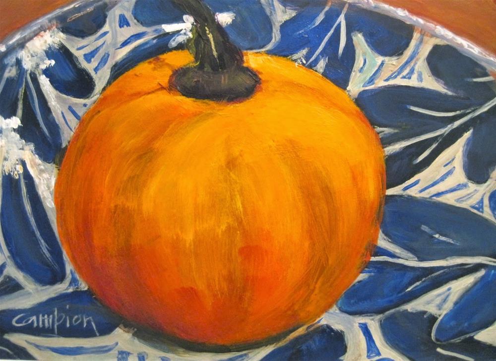 """""""483 Pie Pumpkin"""" original fine art by Diane Campion"""