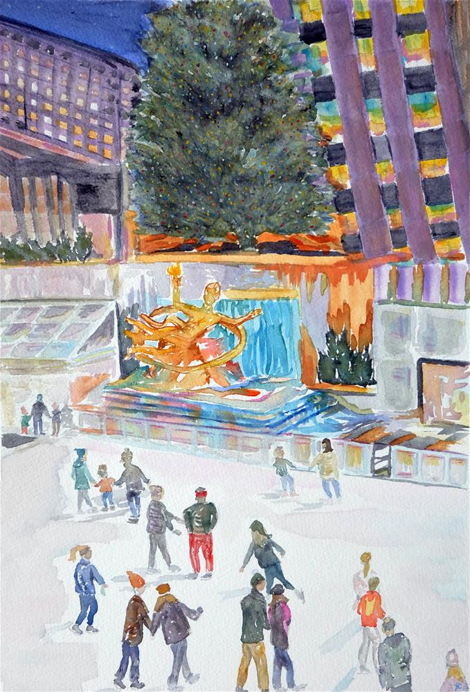 """""""Rockefeller Plaza"""" original fine art by Laura Denning"""