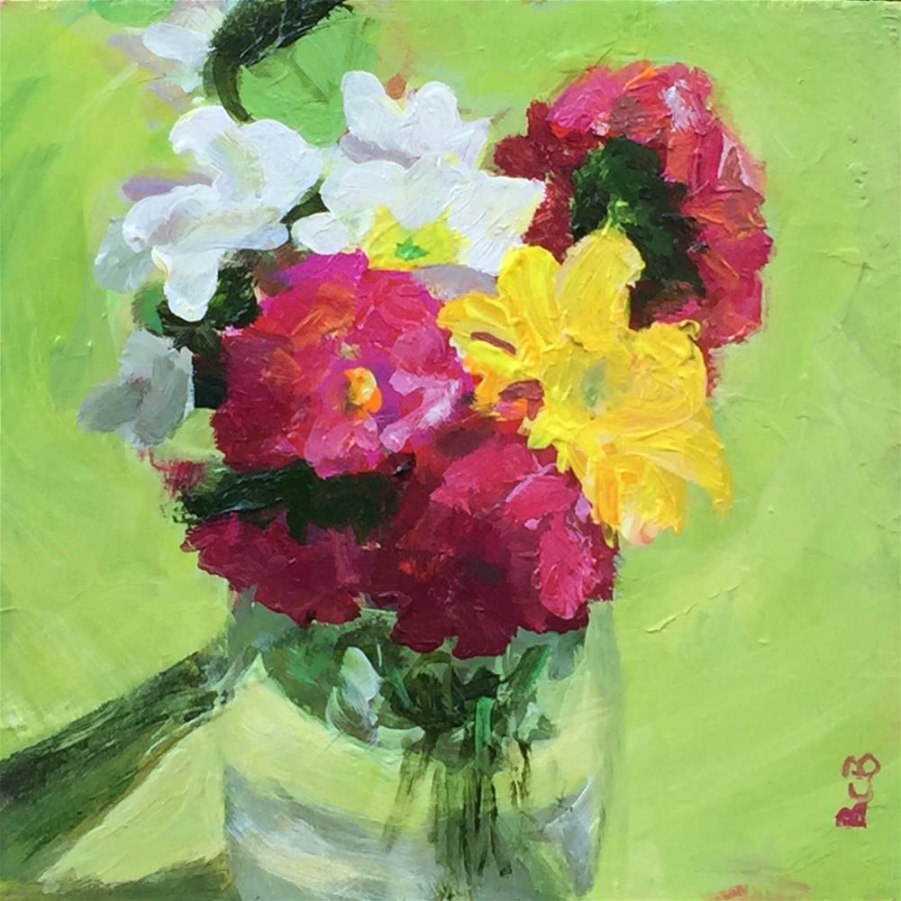 """""""Still life with flowers on lime"""" original fine art by Beth Carrington Brown"""